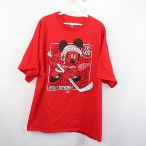 Majestic Mens 2XL Mickey Detroit Red Wings Shirt